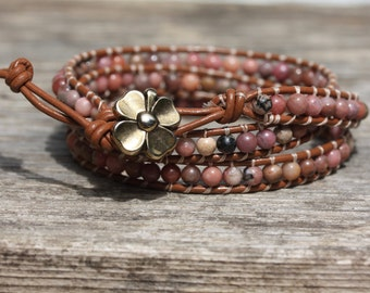 4mm Rhodonite Triple Wrap Brown Leather Bracelet