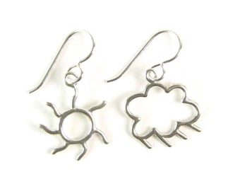 Sun and Cloud Sterling Silver Earrings