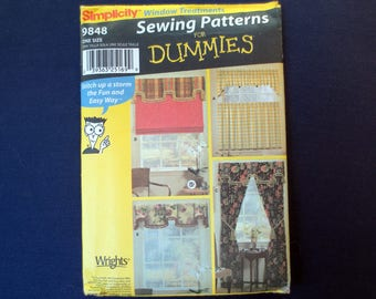 Window Treatments, Curtains, Drapes, Valence Uncut Pattern, Sewing Patterns for Dummies, Simplicity 9848