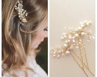 Mohini Bridal hair pin, Pearl Hair pin, Gold  or Silver