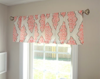 Curtain Valance Topper Window Treatment 52x15 Coral & Snowy Geometric Valance Home Decor by HomeLiving