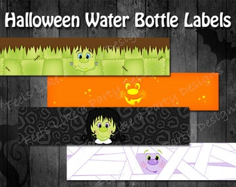 Halloween Water Bottle Wrappers - Instant Download