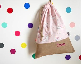 Customizable drawstring pouch - kindergarden - unicorn - pink - gold - white - diamond - dots - star - school - cuddly toy - slippers - toys