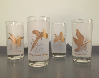 30% SALE *** Four Federal Glass Co. Sportsman Gold Gamebirds Frosted White Highball Glasses / Tumblers - Canvasback, Goose, Grouse, Pheasant