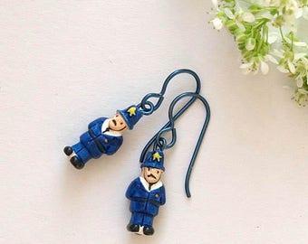 policeman earrings, British policeman earrings, ceramic policeman earrings, BLUES AND TWOS, hypoallergenic niobium earwires