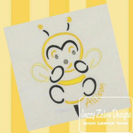 Bumble Bee Satin Stitch Outline Embroidery Design - bee Embroidery Design - bug Embroidery Design - spring embroidery design - summer