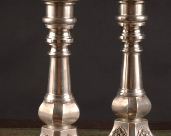 Pewter Footed Candlesticks, Portugal