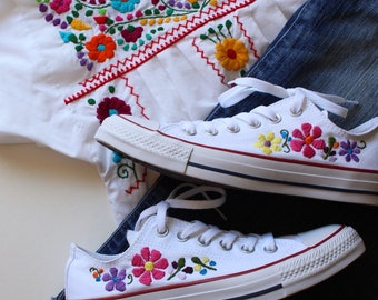 Hand embroidered custom converse embroidered flowers embroidered shoes
