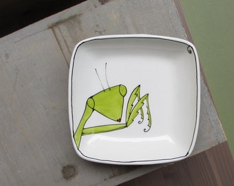 Green praying mantis tray, small ceramic spring insect tray / plate for her