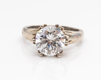 Antique-Inspired Large CZ Solitaire Sterling Silver Vintage 1980s Ring, VJ #790