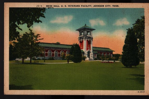 Mess Hall US Veterans Facility + Johnson City, Tennessee + Vintage Postcard