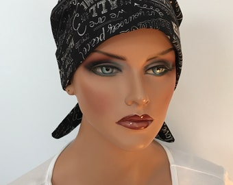 Sandra Women's Surgical Scrub Cap, Cancer Hat, Chemo Head Scarf, Alopecia Head Wrap,  Cancer Gift, Hair Loss Inspiring Chalkboard Words