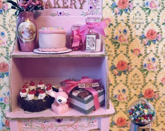 Pink Bakery Set cupboard dollhouse miniatures