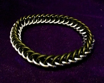 Stretchy Black & Purple Chainmaille Bracelet - Aluminum, Rubber - HP3 - Chainmail Jewelry