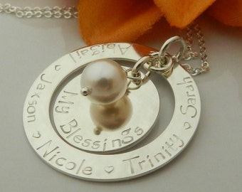 Mother Day Personalized Gift for Grandma/ Kids name necklace Sterling silver/ Custom Grandma Necklace/ Great Grandma Gift, My Blessings