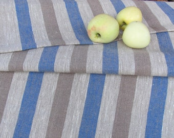 """Pure Linen Table Runner; Ecru Gray / Taupe / Blue Striped Table Runner 19.5""""x 96"""" Gray & Blue Linen Table Cover; Rustic Flax Table Runner"""