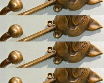 4 large PIG COAT HOOKS solid age brass old vintage old style 13 cm hook B