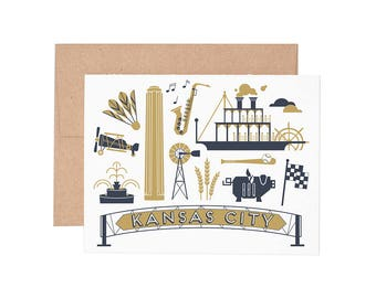 Kansas City Letterpress Greeting Card - Blank Card | Greeting Cards |