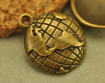 10 PC Globe World Map Antique Bronze Tone Metal Alloy Charm Pendants Nickel Free AZ318
