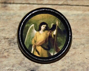 St Saint RAPHAEL angel Pendant or Brooch or Ring or Earrings or Tie Tack or Cuff Links