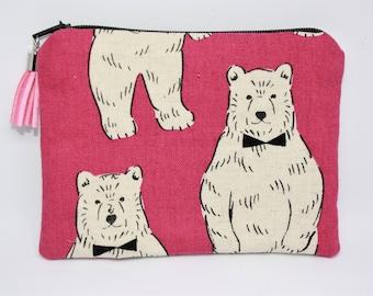 Wallet, polar bear cotton zippered pocket.