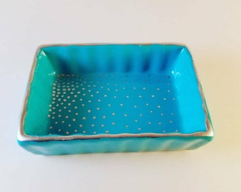 Teal and Silver jewelry dish