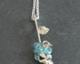 Blue Apatite Blue Bonnet Flowers in Sterling Silver Necklace
