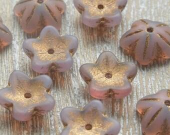 Czech Glass Bell Flowers Lilac 10mm x 4mm, Czech Glass Flower Beads, Czech Beads, Lilac Flower Beads, Uk Czech Beads