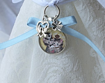 Bridal Bouquet Charm, Cat Bouquet Charm, Something Blue, Gift for Bride, Bride Good Luck Charm