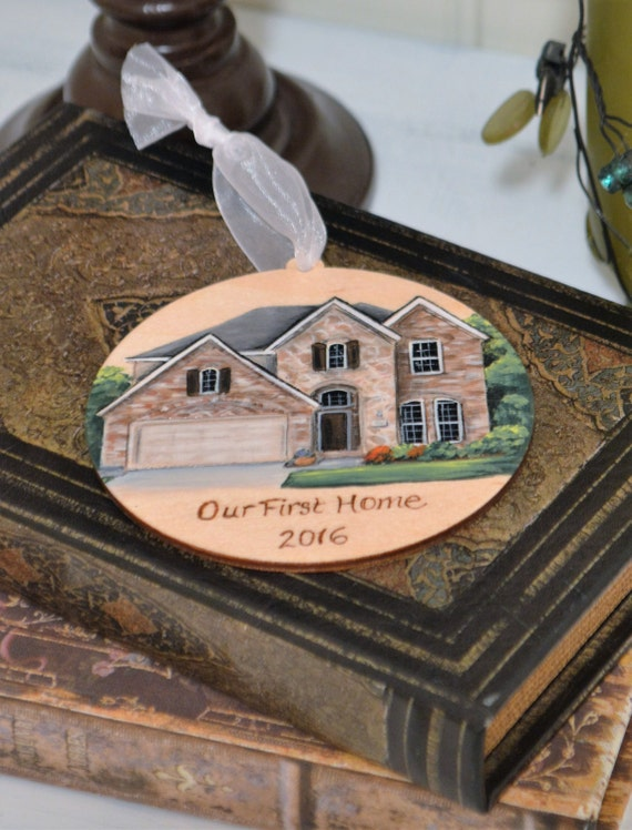 hand painted house ornament wood burned