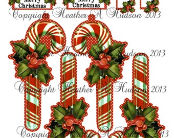 Vintage Classic Candy Cane  Christmas  tags Ornament  Digital Collage sheet Printable Clearance
