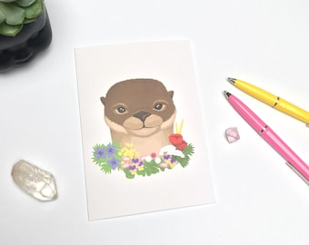 Cute Otter Greeting Card  -  Otter with Flowers Card - Animal Card - Any Occasion Card - Friend Card - Just Because Card