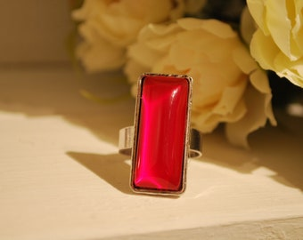 Rectangular ring,  red ring, rectangular ring, cabochon ring, red cabochon