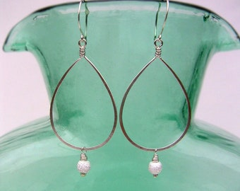 Silver Teardrop Hoops with Stardust Beads Long Silver Hoop Dangles Sparkly Stardust Earrings Chandelier Earrings Romantic Jewelry