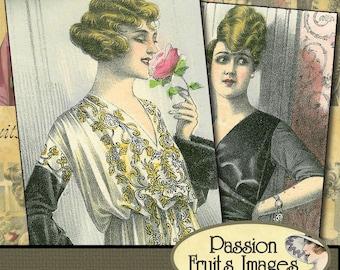 Vintage Ladies in Bloom Digital Collage Sheet-- Instant Download