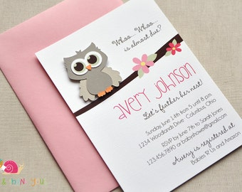 Owl Baby Shower Invitations · A6 FLAT · Blossom Pink and Gray · Baby Sprinkle | Birth Announcement | Birthday Party | Baby Girl