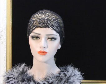 1920s Juliet cap Art Deco Vaudeville Headpiece 20s Great Gatsby Rhinestone lace cap Hair piece Wedding Couture Bachelorette Hen party