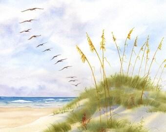Pelican Parade is a flight of pelicans soaring over the dunes