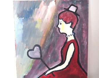 Girl With Heart, original, acrylic on canvas, wall art, modern art, fairy painting, girl, fairytale, girl with red dress, home decor, heart