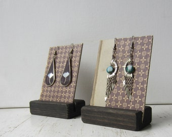 Pair Earring Displays - Purple & Taupe Geometric Design  - Reversible Recycled Book Jewelry Display - Ready to Ship