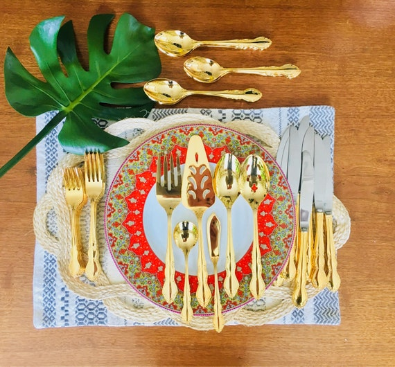 RARE Supreme Cutlery by Towle Gold Electroplated McM Flatware - Mid-Century Gold Silverware - Set of Eight
