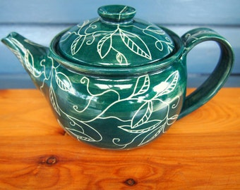 TEAPOT Wheelthrown stoneware teapot ocean green incised leaf and vines pattern