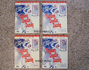 "Four Sheet Music, ""Yankee Doodle Dandy"", 1942 Movie, James Cagney, George M. Cohan"