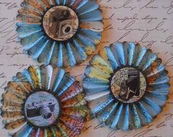 upcycled vintge map rosettes- Travel cameras- set of 3