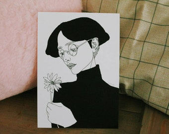 GLICÉE PRINT - flower boy ink illustration