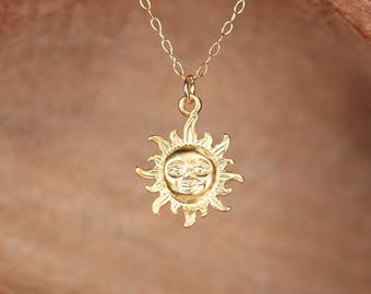 Smiling sun necklace - you are my sunshine - sunshine necklace - gold sun - a gold vermeil sun pendant on a 14k gold vermeil chain - MD