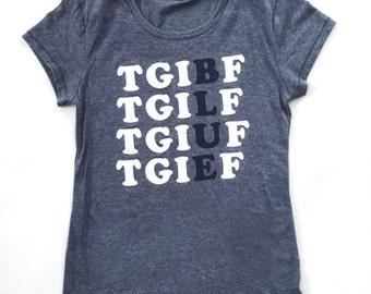 TGIBF - BLUE FRIDAY Women's Tri-Blend Navy T-Shirt