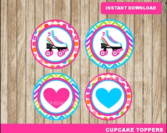 Roller Skate cupcakes toppers; printable Roller Skating toppers, Roller Skate party toppers instant download
