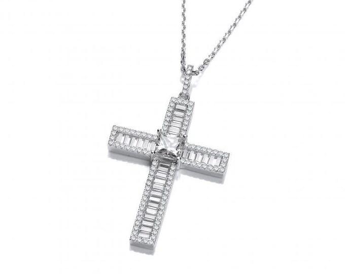 "Princess & Baguette Look-of-Diamond Cross Pendant Sterling Silver 16""-18"" Necklace"