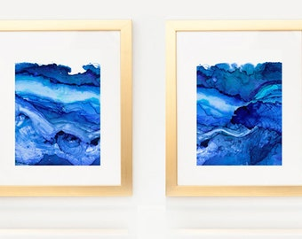 Diptych of Undercurrent Snorkel Bue Inks, Oceanscape, Ocean Art, Pair of prints